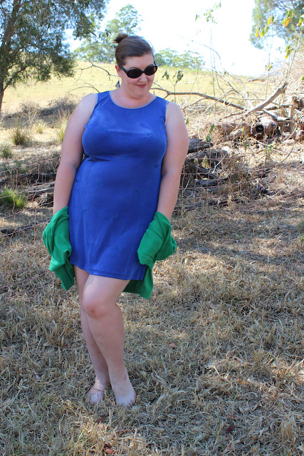 Blue dress, green cardy